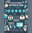 search engine optimization internet poster vector image vector image