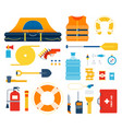 set boat safety kit life raft float flat vector image vector image