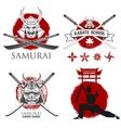 set of samurai karate school labels ninja vector image