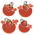 strawberry stickers vector image vector image