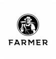 vintage portrait farmer logo organic products vector image