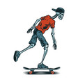 vintage skeleton skateboarder vector image vector image