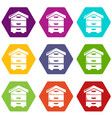 wood beehive icons set 9 vector image vector image