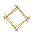 wooden rhombic double frame from bamboo sticks vector image vector image