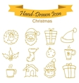 Yellow Christmas icons vector image