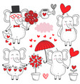 set of isolated elephant in love black and white vector image