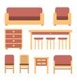 set of simple flat vintage furniture vector image