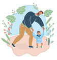 baby taking first steps with fathers help vector image vector image