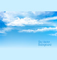 Blue sky background with transparent clouds vector image