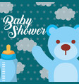 blue toy bear and feeding bottle baby shower card vector image vector image