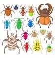 Bug icons set vector image