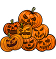 cartoon halloween pumpkins vector image vector image