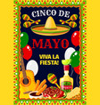 cinco de mayo mexican celebration poster vector image vector image