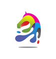 colorful horse head vector image vector image