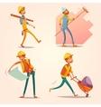 Construction Builder Retro Cartoon icons Set vector image