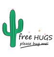 cute hand drawn cactus print banner with vector image