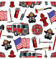 firefighting seamless pattern firefighter vector image vector image