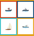 flat icon vessel set of transport sailboat yacht vector image vector image