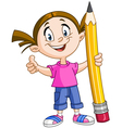 girl holding big pencil vector image vector image