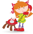 Girl on phone resize vector image vector image