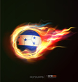Honduras flag with flying soccer ball on fire vector image vector image