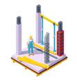 isometric concrete building construction vector image vector image