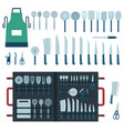 kitchen tools in a row vector image vector image