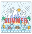Line Style Flat Color Summer Card or vector image vector image