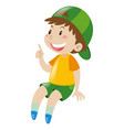little boy in yellow shirt smiling vector image