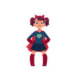 little girl in superhero costume and devil horns vector image vector image
