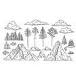 nature landscape elements mount rocks trees vector image vector image