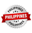 philippines round silver badge with red ribbon vector image vector image