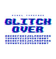 pixel font design with glitch effect 2 in vector image