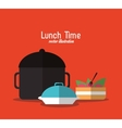plate cake pot lunch time menu icon vector image vector image