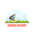 postman in uniform delivering letters on motorbike vector image vector image