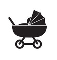 pram baby carriage simple cute flat black nad vector image