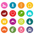 princess doll icons set colorful circles vector image
