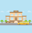 school building school bus flat style back to vector image