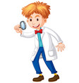 scientist holding magnifying glass in hand vector image vector image