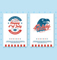 set vintage 4th july poster flyer template vector image vector image