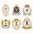 set vintage elements heraldry labels stylized