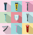 shaver blade razor personal icons set flat style vector image vector image