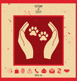 shelter pets sign icon hands holds paw symbol vector image