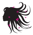 silhouette of woman with long hair vector image