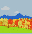 simple mountain view forest art autumn scenery vector image