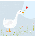 Spring greeting card with goose and flowers vector image