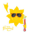 sun with thermometer in hand vector image vector image