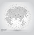 three-dimensional dotted world map with wireframe vector image vector image