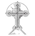 tomb cross childe vintage engraving vector image vector image