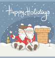 two cheerful santa claus vector image vector image